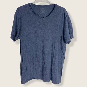 Vince V Neck T Shirt Short Sleeve Blue Pima Cotton